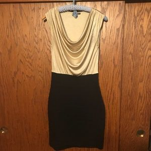 Express XS Gold & Black Cocktail Dress
